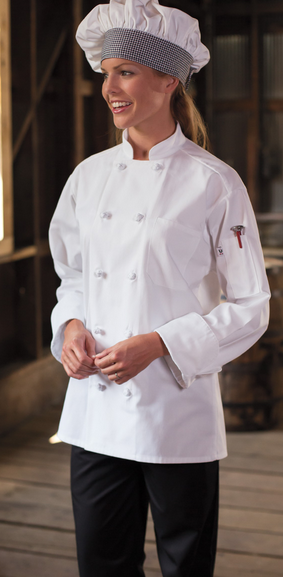 403C 10 Knot Chef Coat Cotton